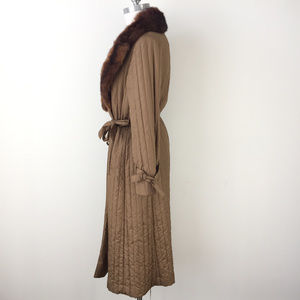 Vintage Jackets & Coats - VTG coat Domino Boho XS S brown Real Fur Collar